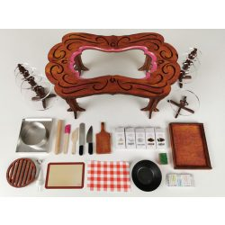 """PINK - BROWN Exclusive """"Carved"""" Table"""